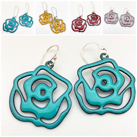 Earrings - Cut Rose - Enamel on Copper