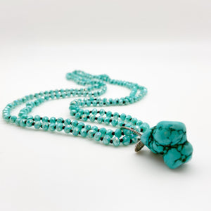 Necklace -  Hand-Knotted Glass with Stone Pendant