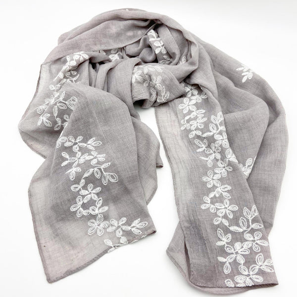 Light Slate Embroidered Scarf