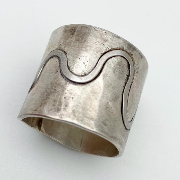 Ring - Sterling with Platinum Roller Coaster