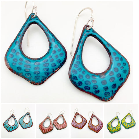 Earrings - Open Teardrops - Enamel on Copper