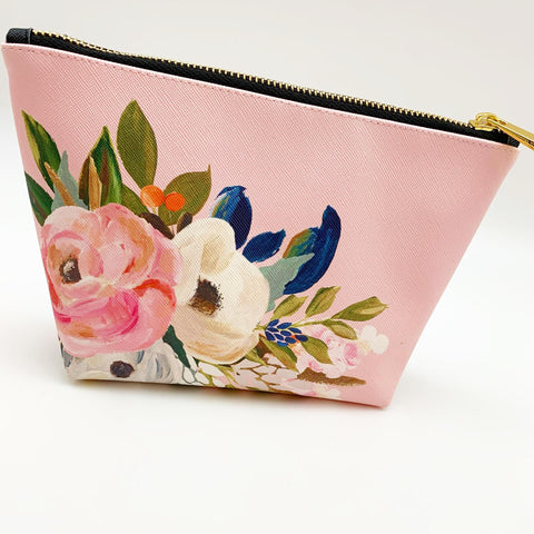 Zippered Pouch - Pink Floral - Large