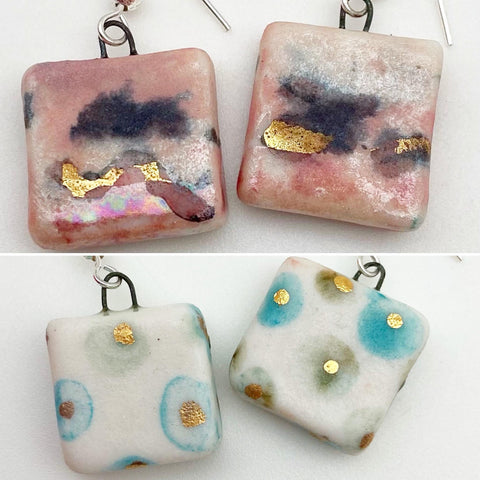 Earrings - Ceramic with Luster Glaze - Small Squares