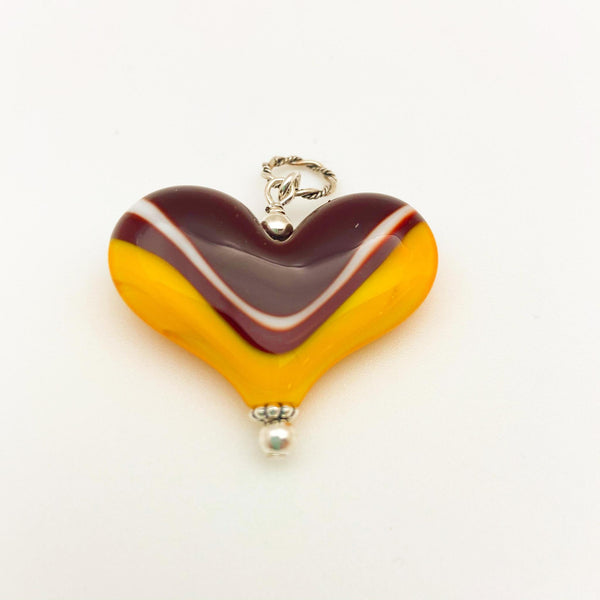 "Pendant - Glass ""Chiefs"" Color Heart - Large"