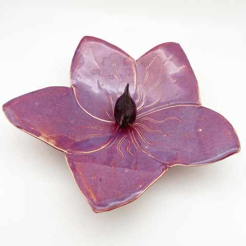 Ceramic Wall Art - Dark Purple Orchid - Medium