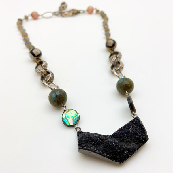 Necklace - Black Druzy Pendant on Mixed-Media Necklace