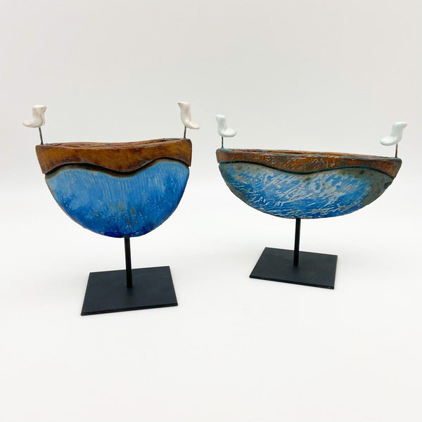 Sculpture - Double Bird Boat - Ceramic