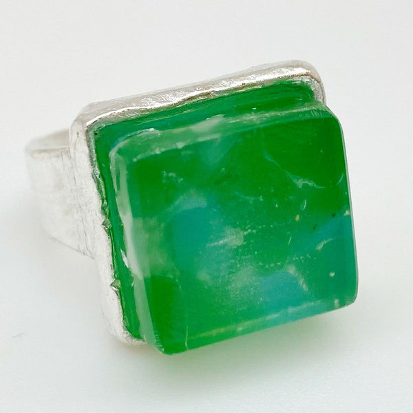 Ring - Reclaimed Fused Glass - Sterling Silver Plated