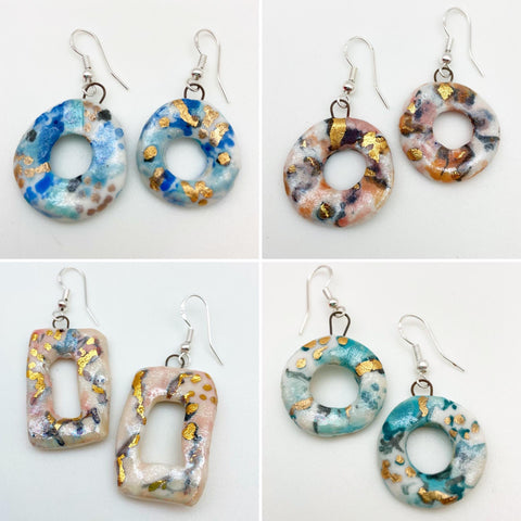 Earrings - Ceramic with Luster Glaze - Medium Hoops