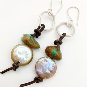 Earrings - Turquoise and Pearl with Sterling Circles