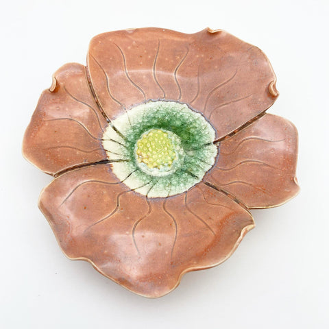 Ceramic Wall Art - Dark Peach Flower - Small
