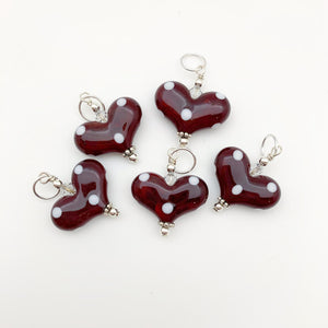 Pendant - Glass Heart - Polka Dot - Small