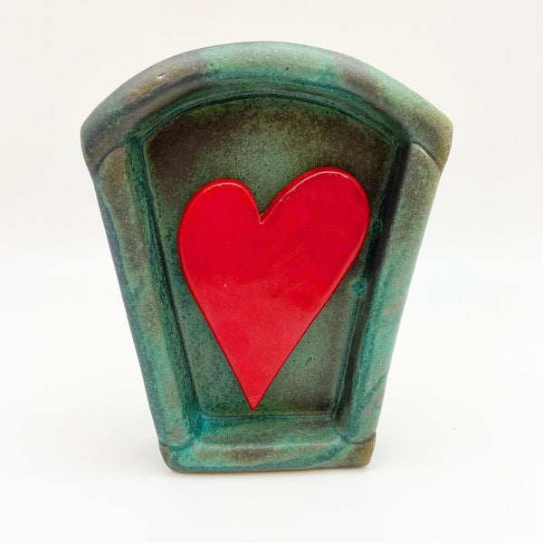 Sculpture - Deep Tile with One Heart