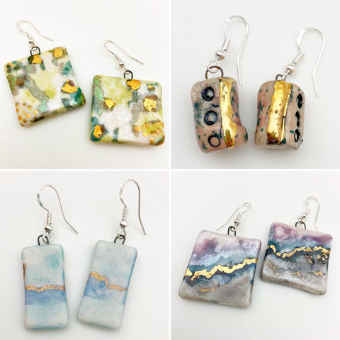 Earrings - Ceramic with Luster Glaze - Large