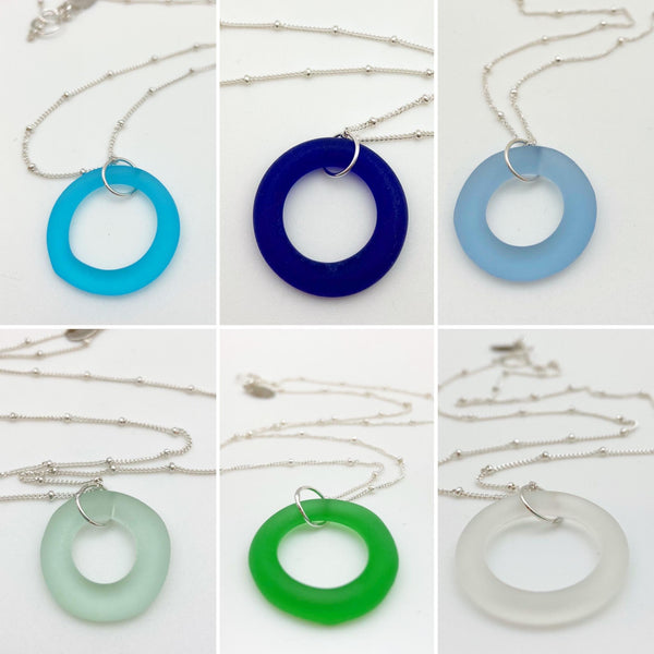 Necklace - Reclaimed Glass Circle - Sterling Silver Chain