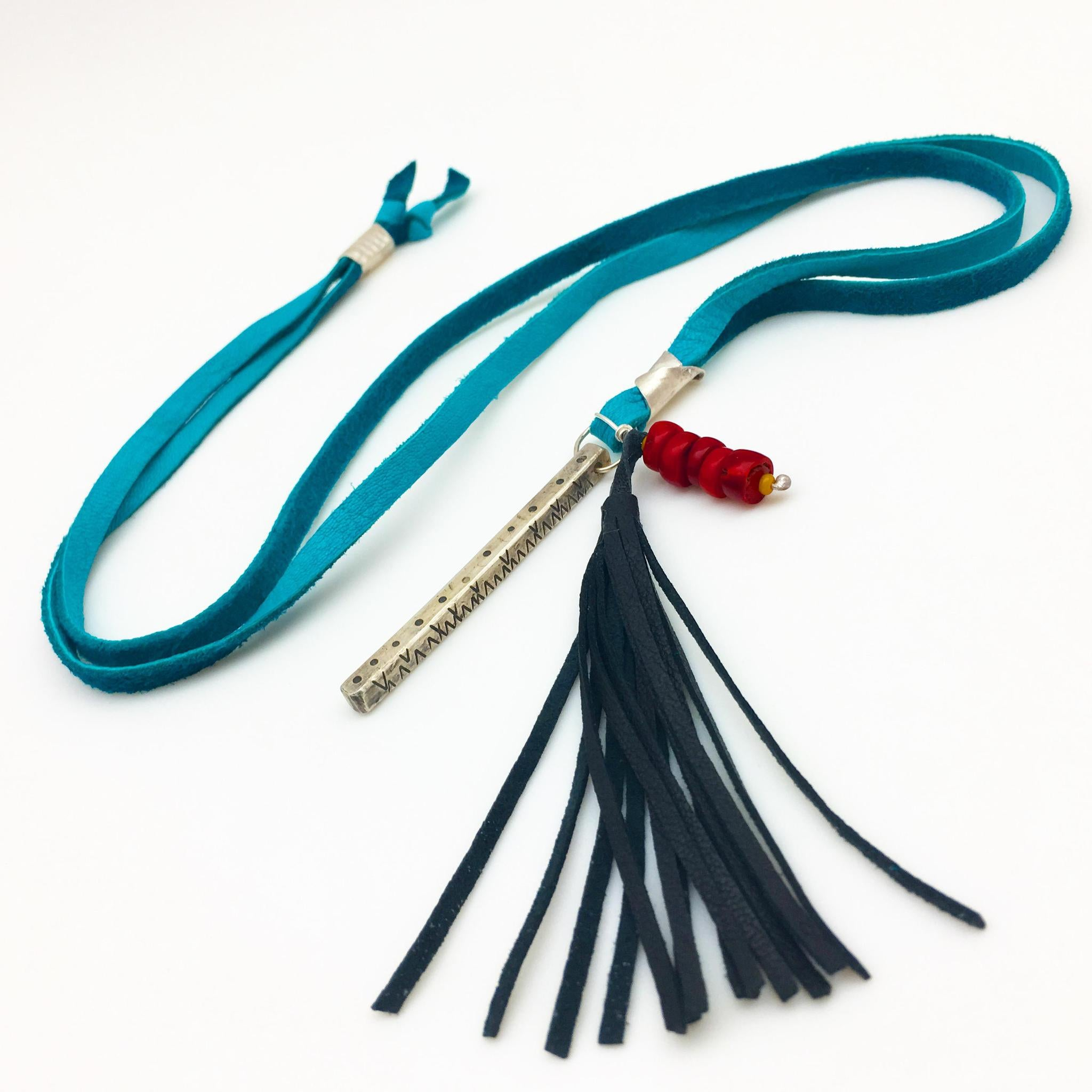 Necklace - Sterling Bar and Tassle on Leather