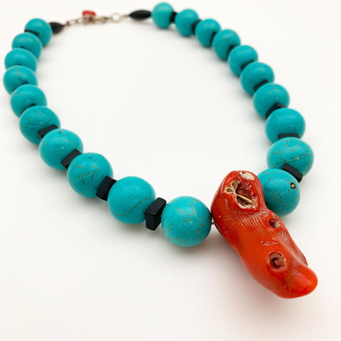 Necklace - Coral Pendant on Howlite