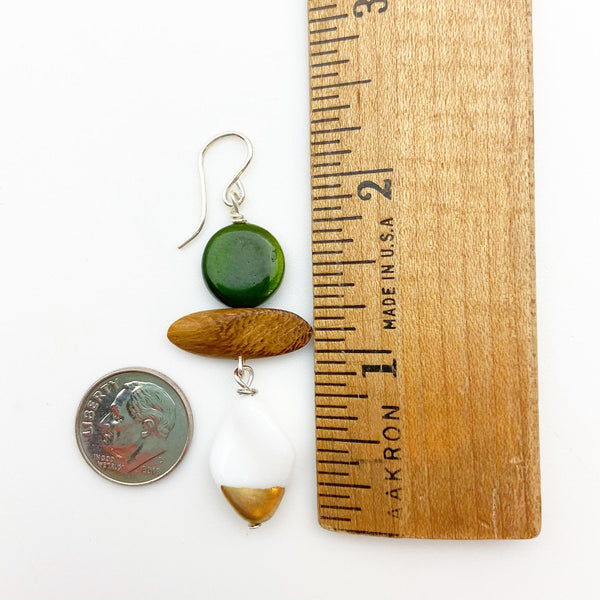 Earrings - Vintage Bead Originals - Gold Dip with Wood