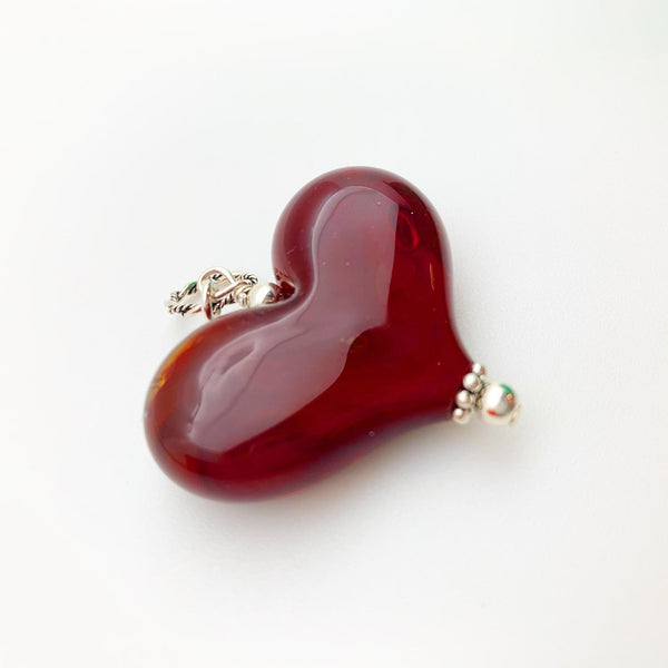 Pendant - Red Glass Heart - Large