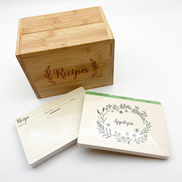 Recipe Box Kit - Sustainable Bamboo - Box/Cards/Dividers