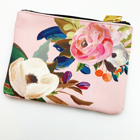 Zippered Pouch - Pink Floral - Small