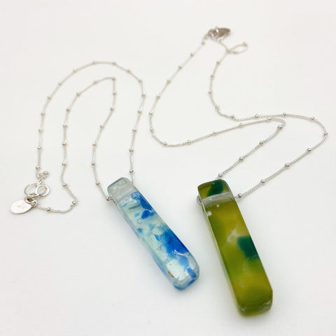Necklace - Reclaimed Glass Slab - Sterling Silver Chain