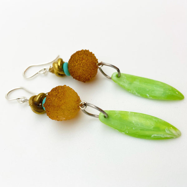 Earrings - Vintage Bead Originals - Green and Gold