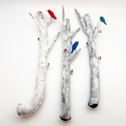 Sculpture - Aspen Branch with Bird - Ceramic