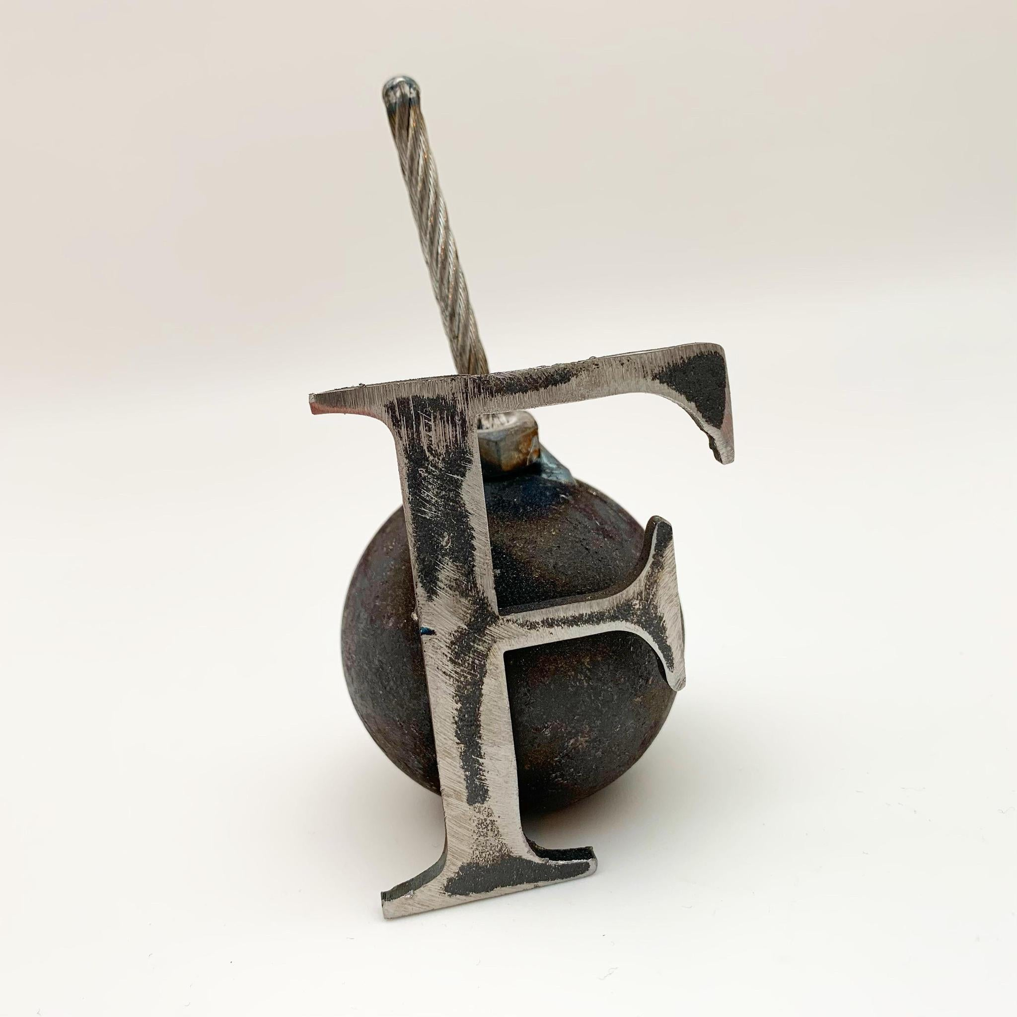F-Bomb Sculpture - Reclaimed Metal Original