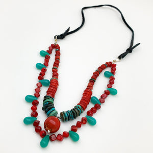 Necklace - Two-Strand Stone and Leather