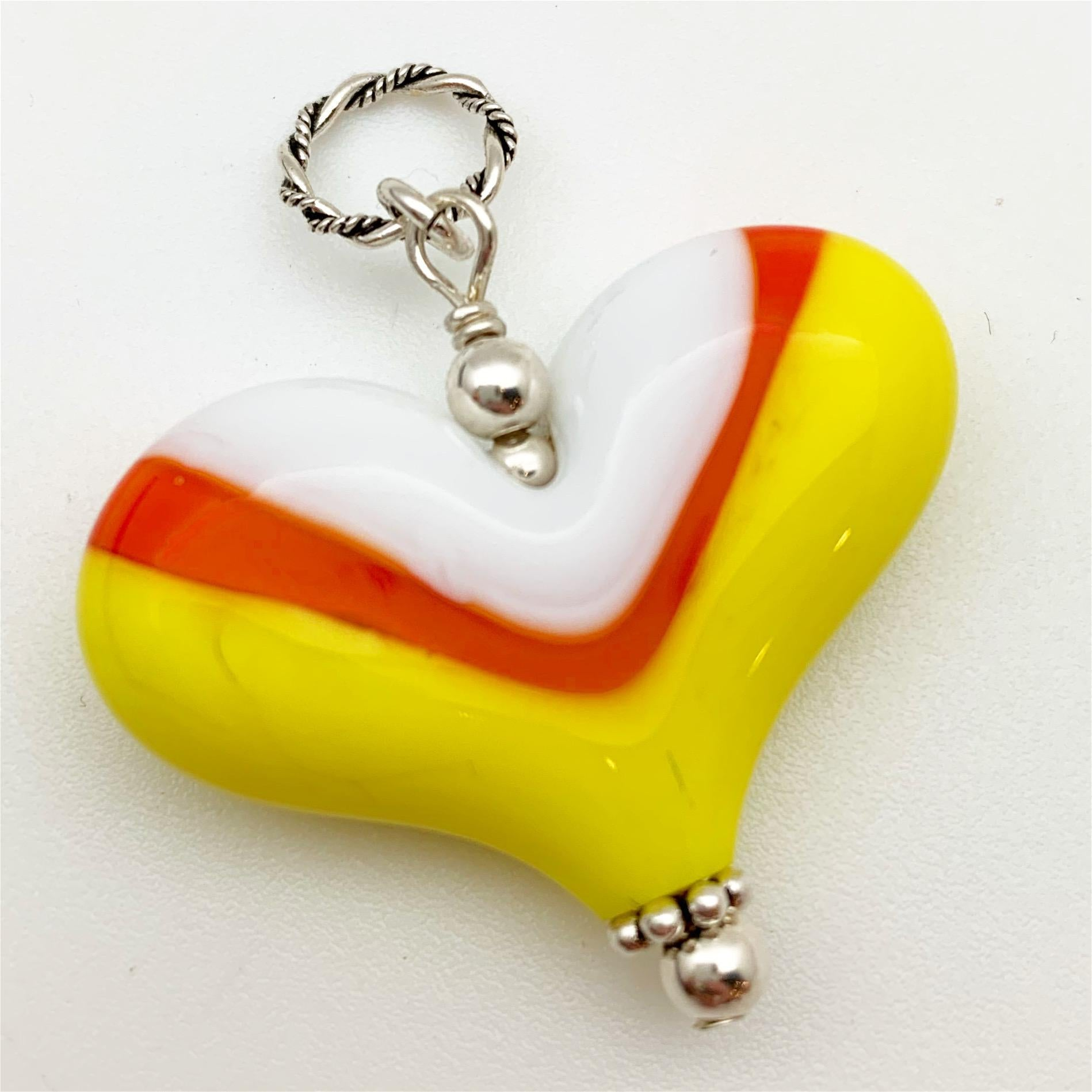 "Pendant - Glass ""Candy Corn"" Color Heart - Handmade"