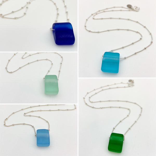 Necklace - Reclaimed Glass Cube - Sterling Silver Chain