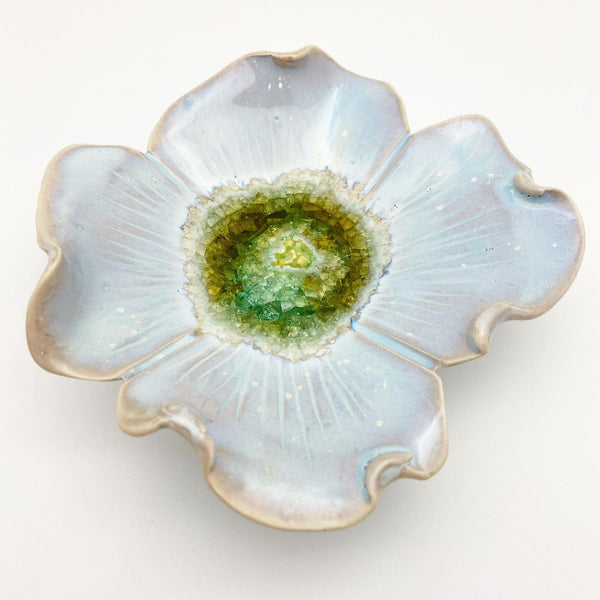 "Ceramic Wall Art - ""Baby Dogwood"" - Nebula Blue"