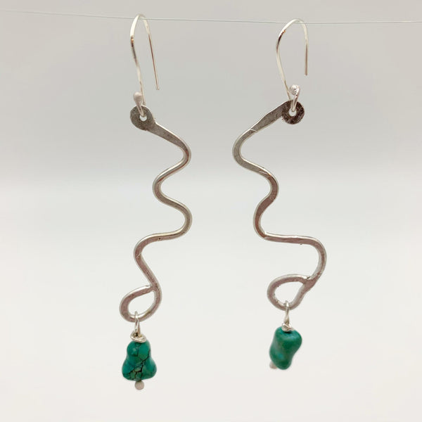 Earrings - Sterling Squiggle with Turquoise