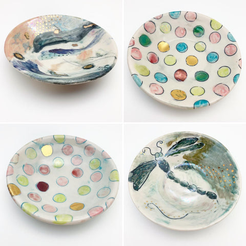 "Dish - Ceramic with Luster Glazes - 5"" Round"