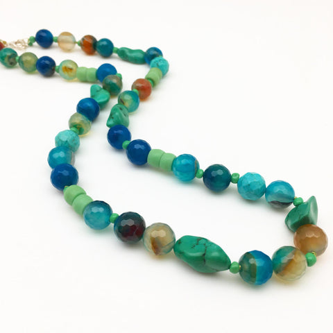 Necklace - Mixed Stone and African Glass Beads