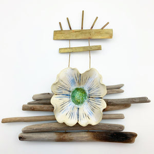 Wall Art - Driftwood and Ceramic Totem - Large