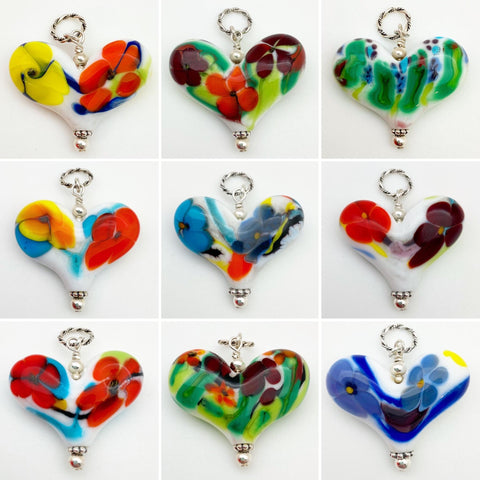 Pendant - Glass Heart - Abstract Floral