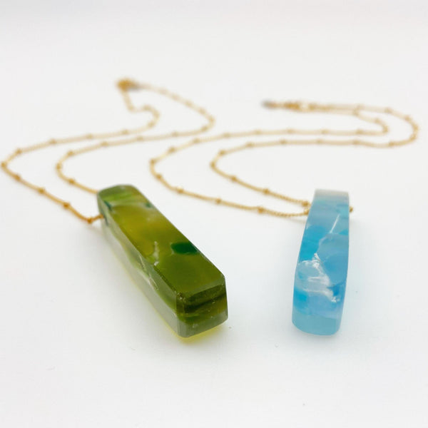 Necklace - Reclaimed Glass Slab - 14kt Gold Fill Chain