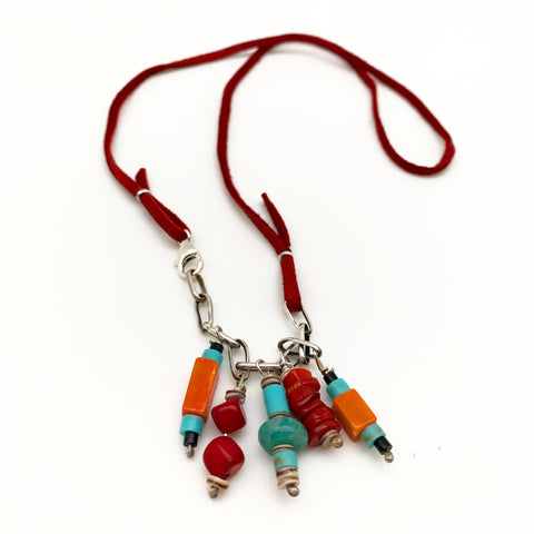 Necklace - Beads on Sterling Chain and Leather Strand