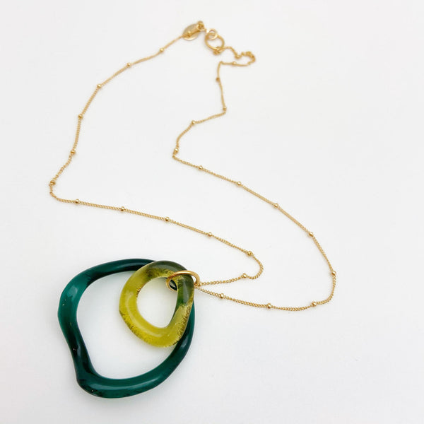 Necklace - Double Rings - Reclaimed Glass