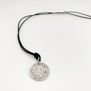 Necklace - Sterling Hatchmark Pendant on Leather