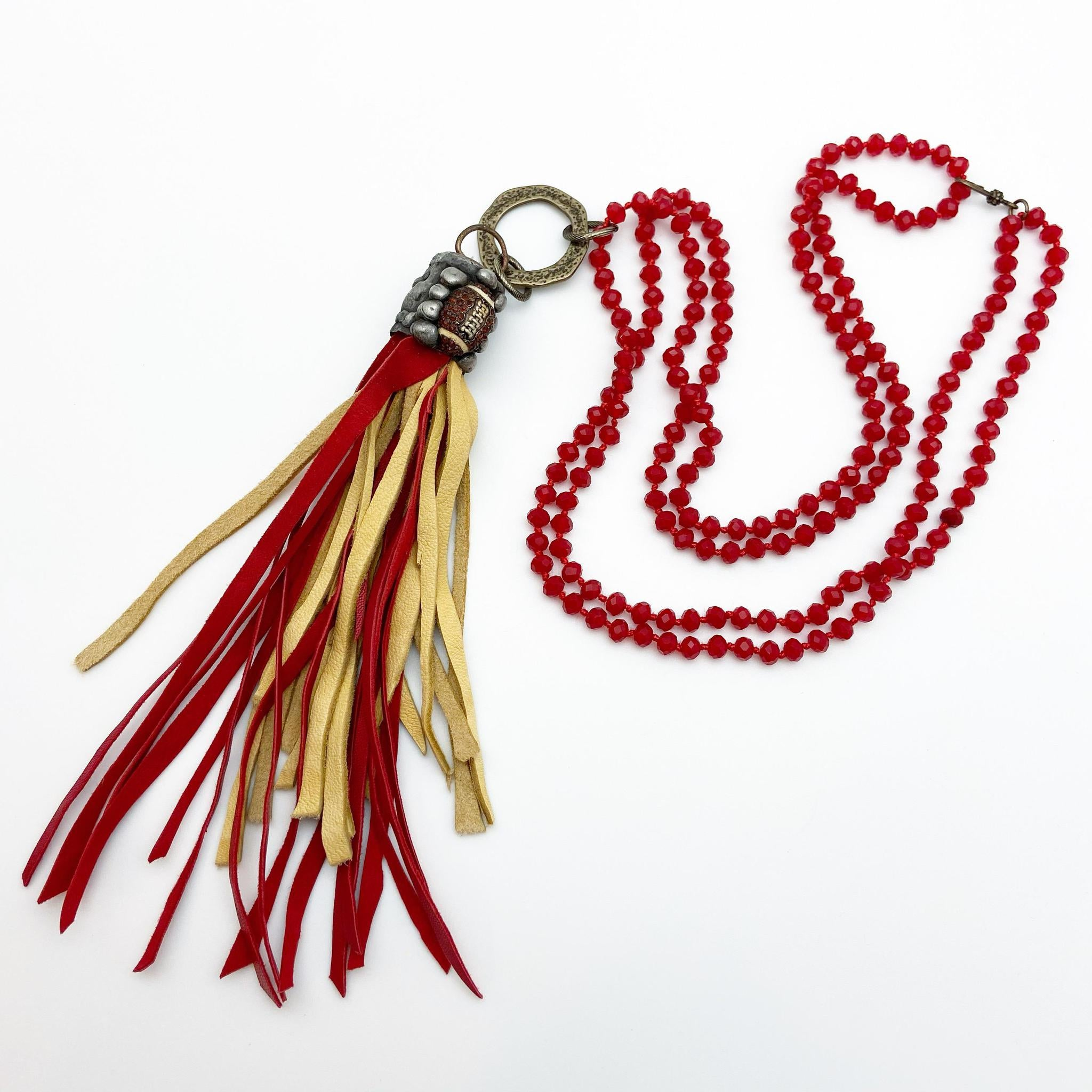 Necklace - Football Theme - Chiefs Colors