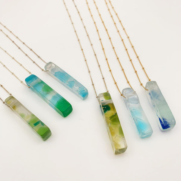 Necklace - Glass Slab on Gold Chain - Fused Recycled Glass