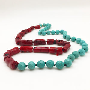Necklace - Faceted Howlite and Red Coral