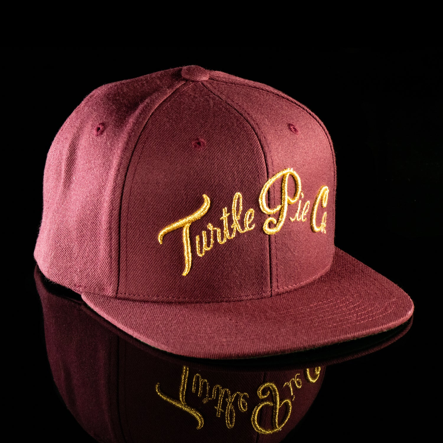 Turtle Pie Co Snapback Gold On Burgundy