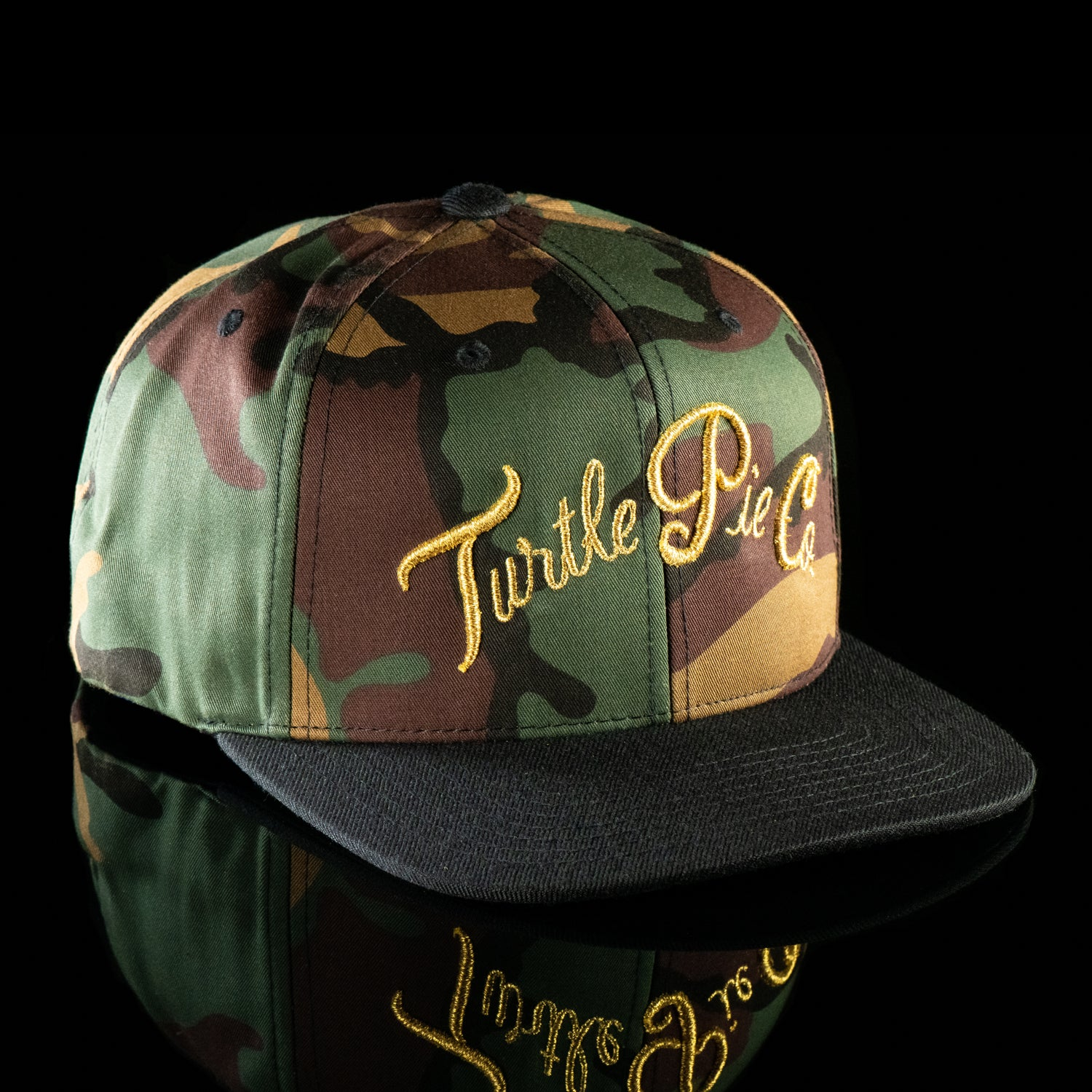 Turtle Pie Co Gold On Camo Snapback