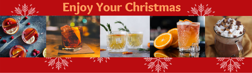 Mulled Gin by Brighton Gin, Sapling Negroni, Winter Gin and Tonic, Rhythm On The Rocks by Caleno, Christmas Cake Hot Chocolate by Warner's