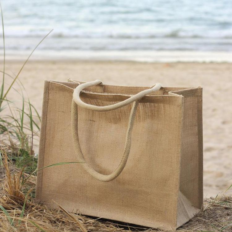 jute bag on the beach