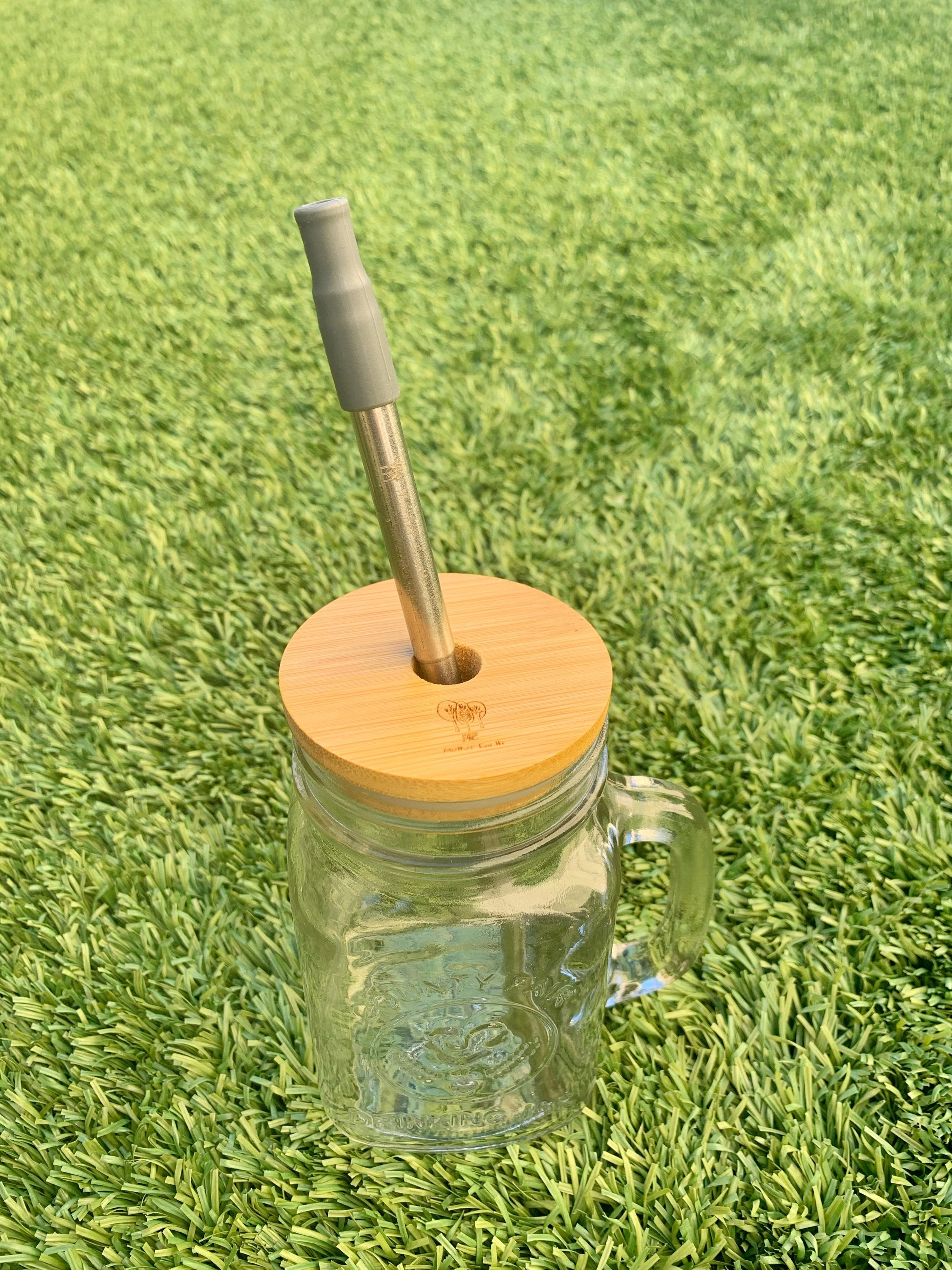 bamboo mason jar lid with straw